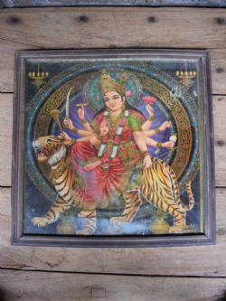 Vintage Print of the Goddess Durga, Powerful Female Protector
